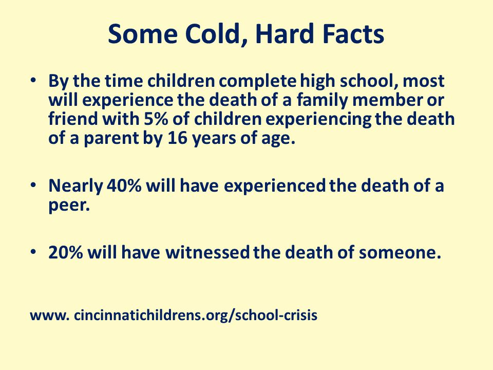 Some Cold, Hard Facts By the time children complete high school, most will experience the death of a family member or friend with 5% of children experiencing the death of a parent by 16 years of age.