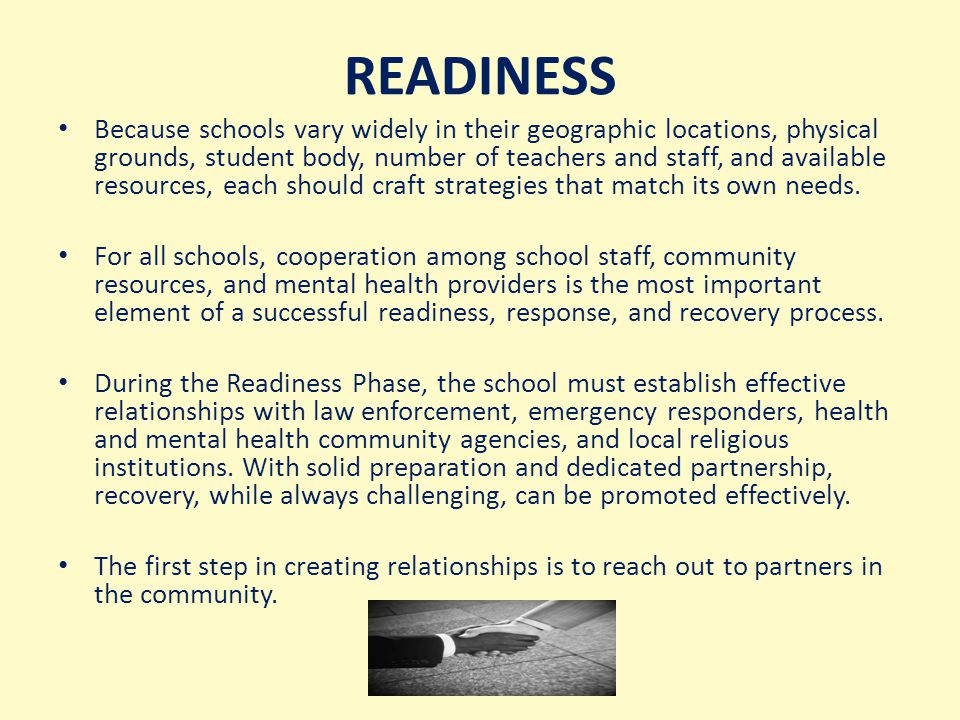 Each county school system is required to have a crisis management plan in place under the federal Safe Schools Act.