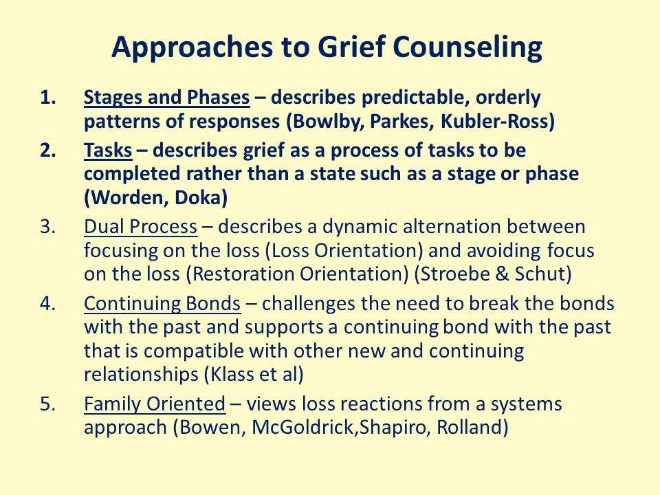 Approaches to Grief Counseling 1.Stages and Phases – describes predictable, orderly patterns of responses (Bowlby, Parkes, Kubler-Ross) 2.Tasks – describes grief as a process of tasks to be completed rather than a state such as a stage or phase (Worden, Doka) 3.Dual Process – describes a dynamic alternation between focusing on the loss (Loss Orientation) and avoiding focus on the loss (Restoration Orientation) (Stroebe & Schut) 4.Continuing Bonds – challenges the need to break the bonds with the past and supports a continuing bond with the past that is compatible with other new and continuing relationships (Klass et al) 5.Family Oriented – views loss reactions from a systems approach (Bowen, McGoldrick,Shapiro, Rolland)