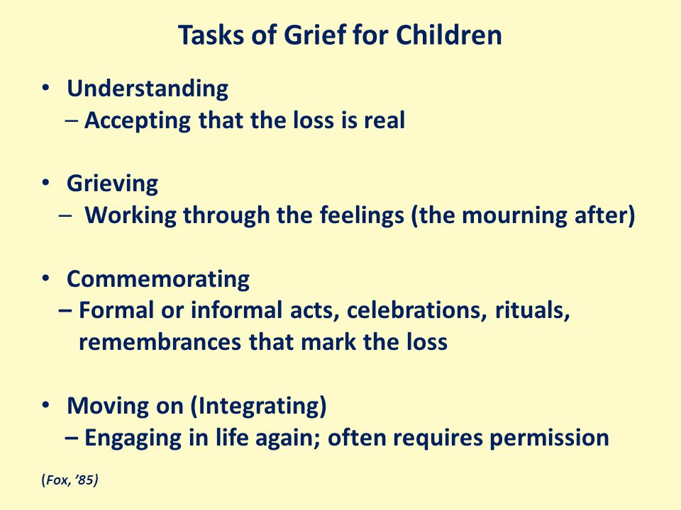 Tasks of Grief for Children Understanding – Accepting that the loss is real Grieving – Working through the feelings (the mourning after) Commemorating – Formal or informal acts, celebrations, rituals, remembrances that mark the loss Moving on (Integrating) – Engaging in life again; often requires permission (Fox, '85)