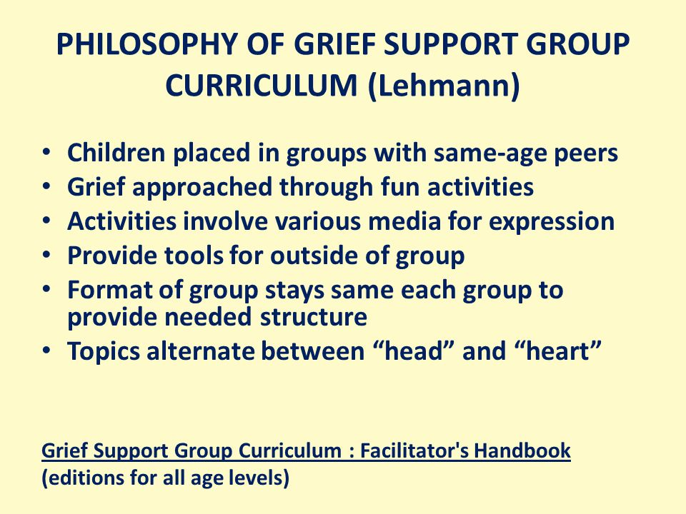 PHILOSOPHY OF GRIEF SUPPORT GROUP CURRICULUM (Lehmann) Children placed in groups with same-age peers Grief approached through fun activities Activities involve various media for expression Provide tools for outside of group Format of group stays same each group to provide needed structure Topics alternate between head and heart Grief Support Group Curriculum : Facilitator s Handbook (editions for all age levels)