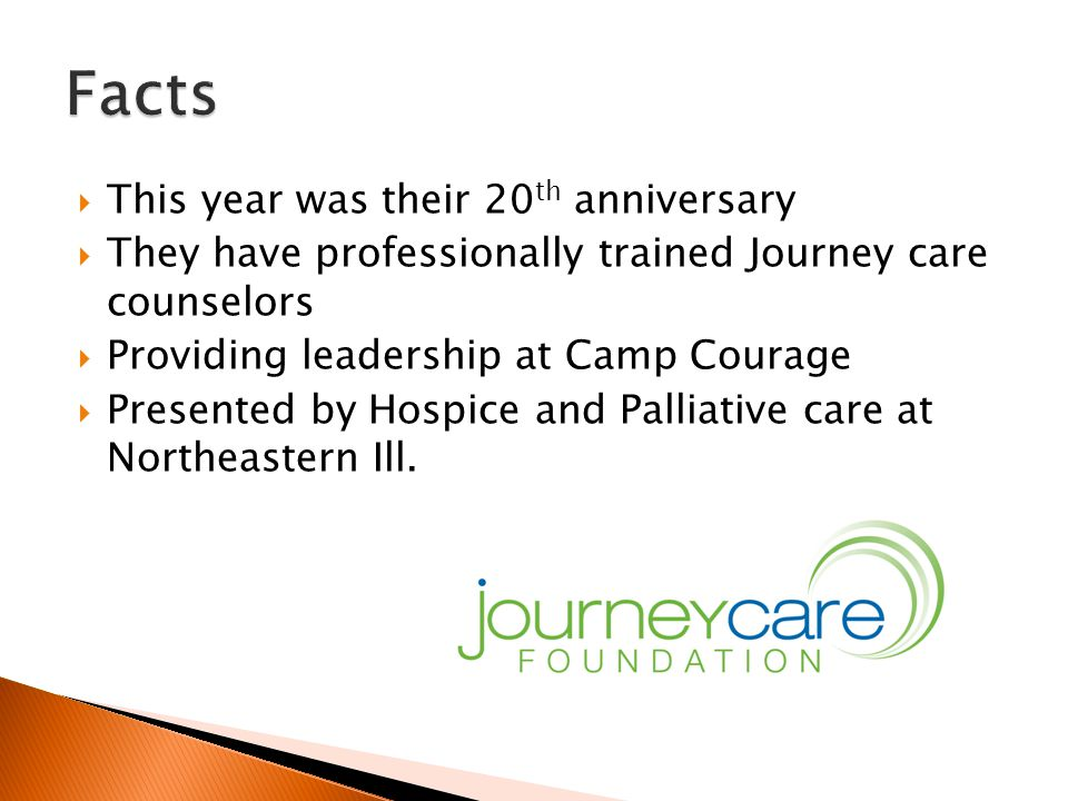  This year was their 20 th anniversary  They have professionally trained Journey care counselors  Providing leadership at Camp Courage  Presented by Hospice and Palliative care at Northeastern Ill.