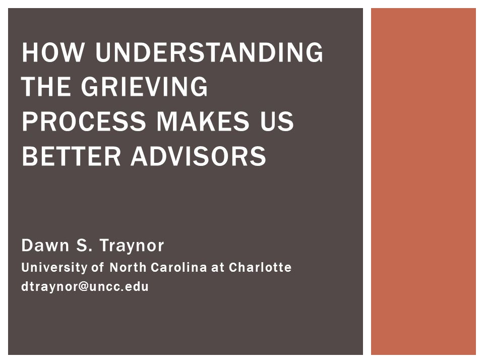 Dawn S. Traynor University of North Carolina at Charlotte dtraynor@uncc.edu HOW UNDERSTANDING THE GRIEVING PROCESS MAKES US BETTER ADVISORS