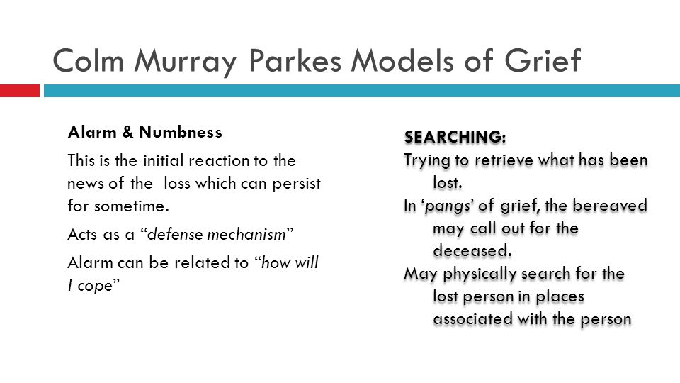 Colm Murray Parkes Models of Grief Alarm & Numbness This is the initial reaction to the news of the loss which can persist for sometime.