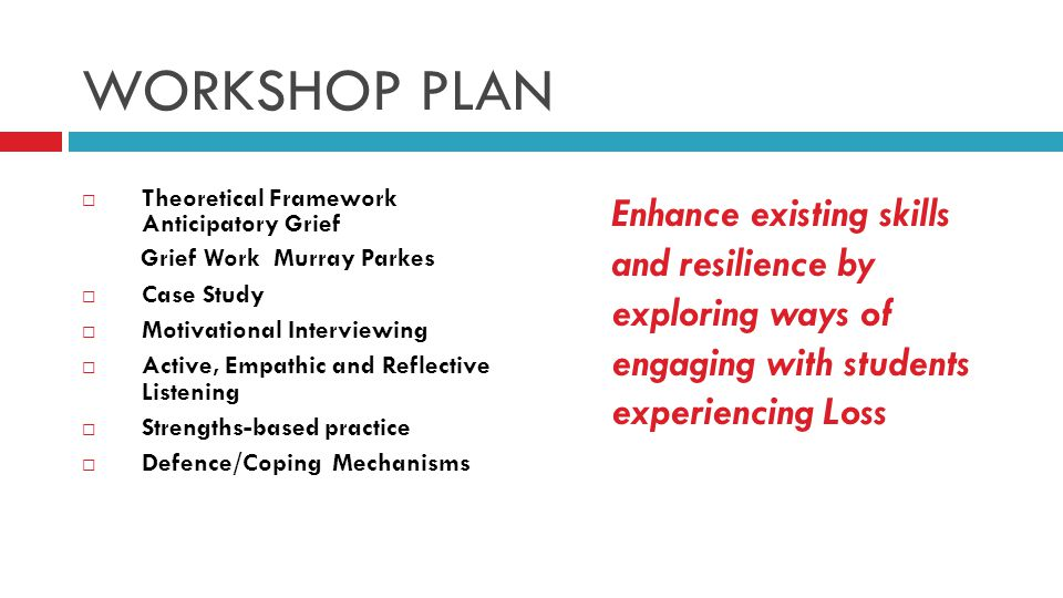 WORKSHOP PLAN  Theoretical Framework Anticipatory Grief Grief Work Murray Parkes  Case Study  Motivational Interviewing  Active, Empathic and Reflective Listening  Strengths-based practice  Defence/Coping Mechanisms Enhance existing skills and resilience by exploring ways of engaging with students experiencing Loss