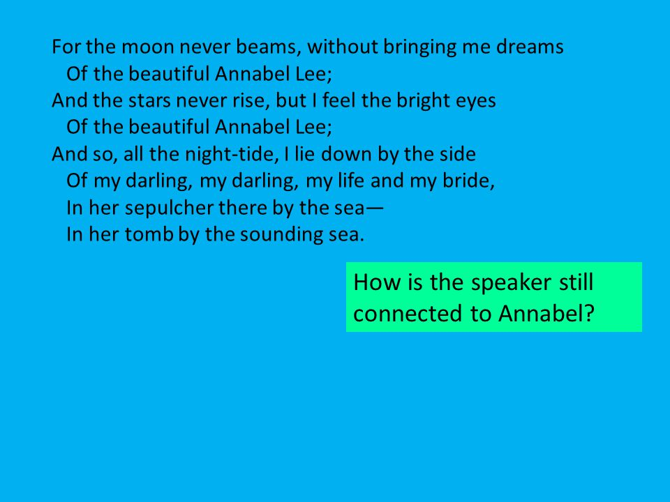 For the moon never beams, without bringing me dreams Of the beautiful Annabel Lee; And the stars never rise, but I feel the bright eyes Of the beautif