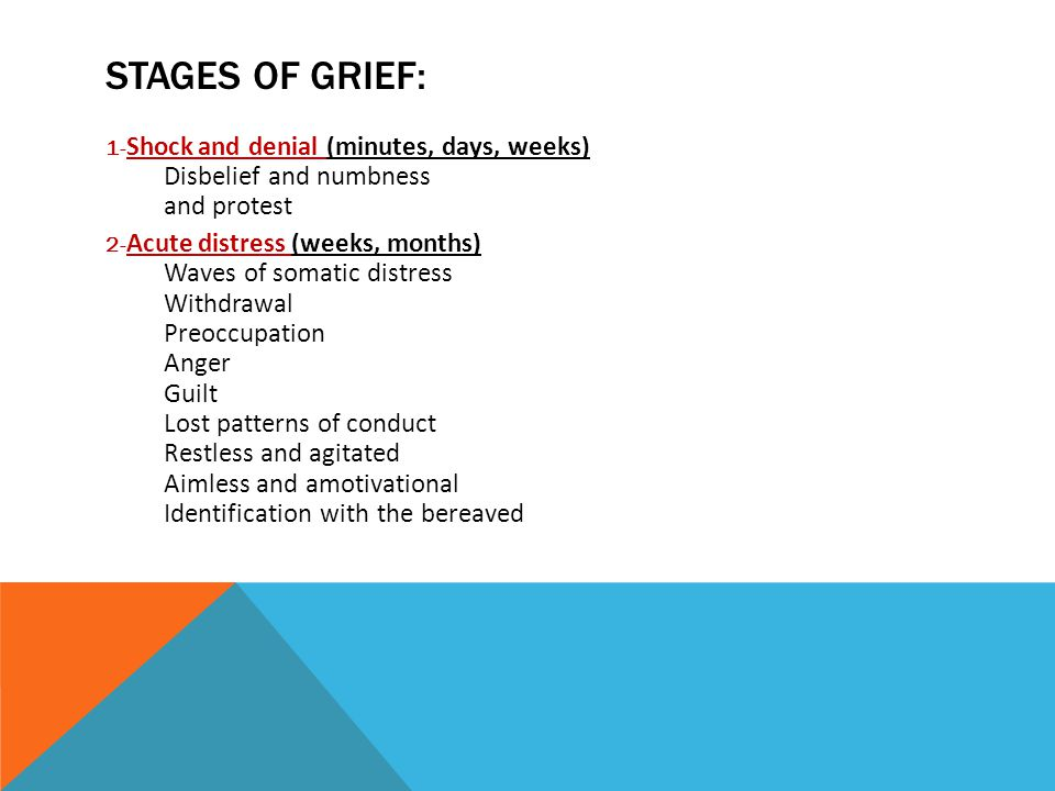 STAGES OF GRIEF: 1- Shock and denial (minutes, days, weeks) Disbelief and numbness and protest 2- Acute distress (weeks, months) Waves of somatic distress Withdrawal Preoccupation Anger Guilt Lost patterns of conduct Restless and agitated Aimless and amotivational Identification with the bereaved