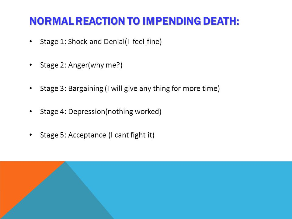NORMALREACTION TO IMPENDING DEATH: NORMAL REACTION TO IMPENDING DEATH: Stage 1: Shock and Denial(I feel fine) Stage 2: Anger(why me ) Stage 3: Bargaining (I will give any thing for more time) Stage 4: Depression(nothing worked) Stage 5: Acceptance (I cant fight it)