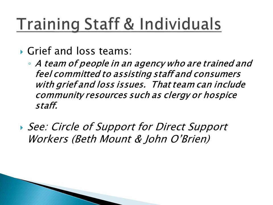  Grief and loss teams: ◦ A team of people in an agency who are trained and feel committed to assisting staff and consumers with grief and loss issues.