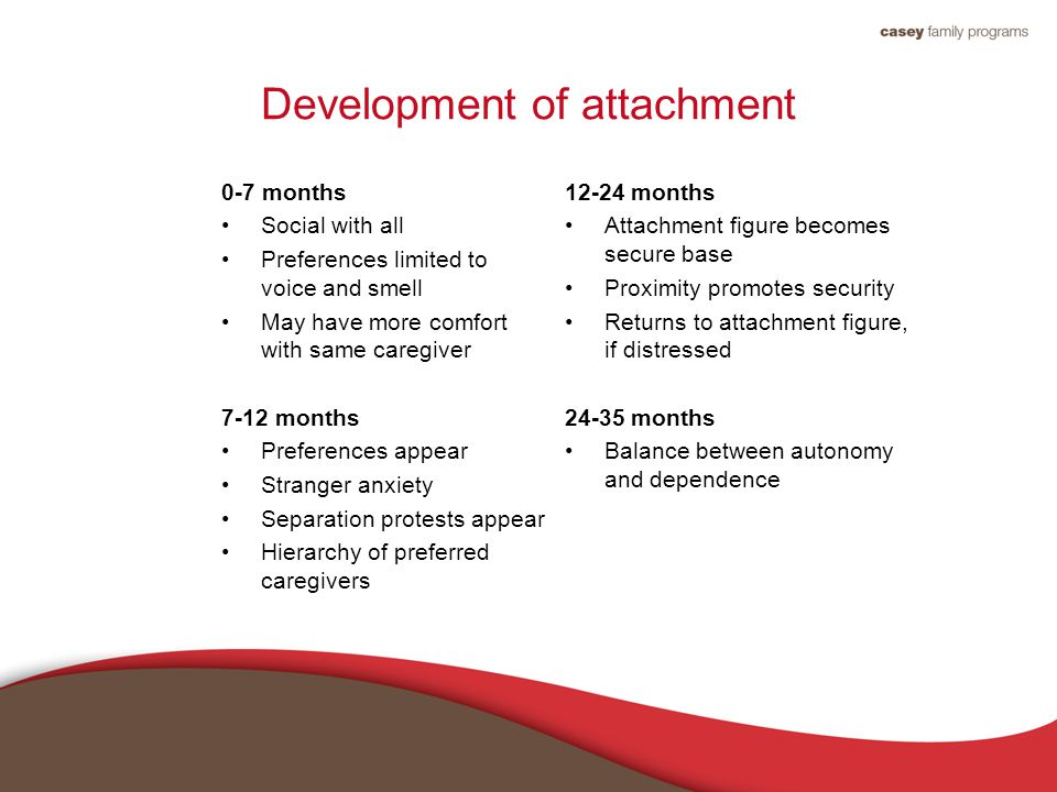 Development of attachment 0-7 months Social with all Preferences limited to voice and smell May have more comfort with same caregiver 7-12 months Preferences appear Stranger anxiety Separation protests appear Hierarchy of preferred caregivers 12-24 months Attachment figure becomes secure base Proximity promotes security Returns to attachment figure, if distressed 24-35 months Balance between autonomy and dependence