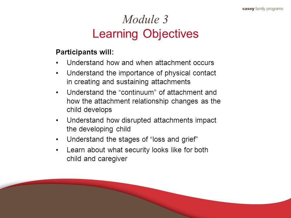 Module 3 Learning Objectives Participants will: Understand how and when attachment occurs Understand the importance of physical contact in creating an