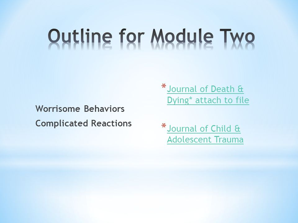 Worrisome Behaviors Complicated Reactions * Journal of Death & Dying* attach to file Journal of Death & Dying* attach to file * Journal of Child & Ado