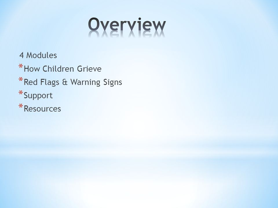 4 Modules * How Children Grieve * Red Flags & Warning Signs * Support * Resources