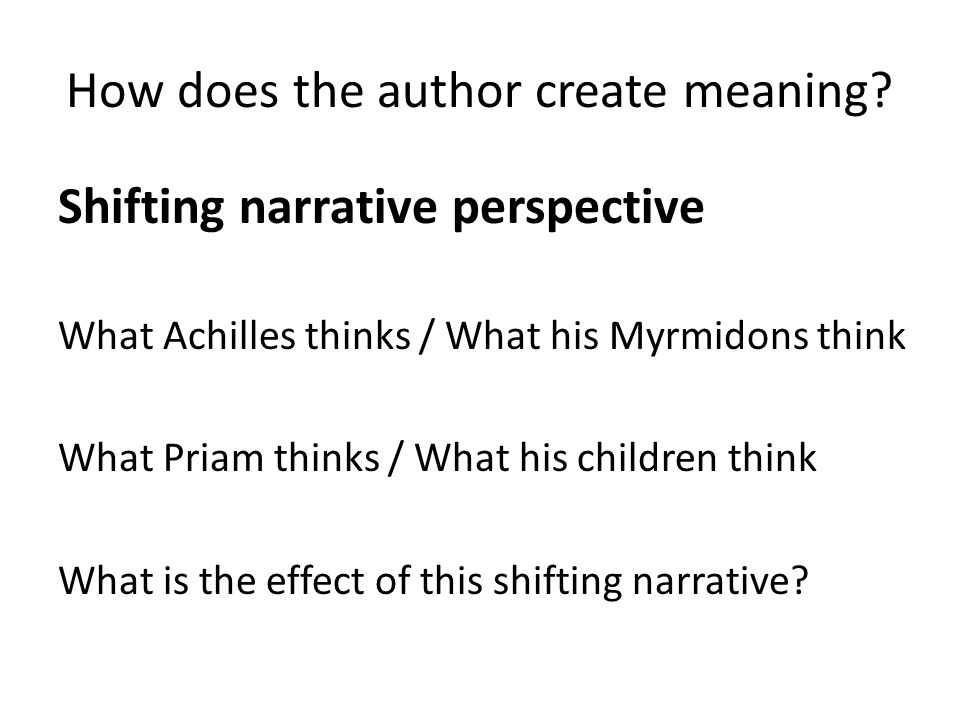 How does the author create meaning.