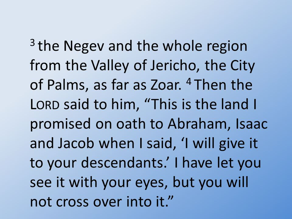 3 the Negev and the whole region from the Valley of Jericho, the City of Palms, as far as Zoar.