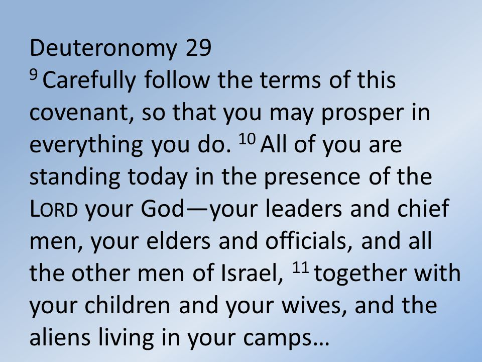 Deuteronomy 29 9 Carefully follow the terms of this covenant, so that you may prosper in everything you do.