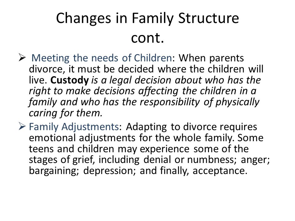 Changes in Family Structure cont.