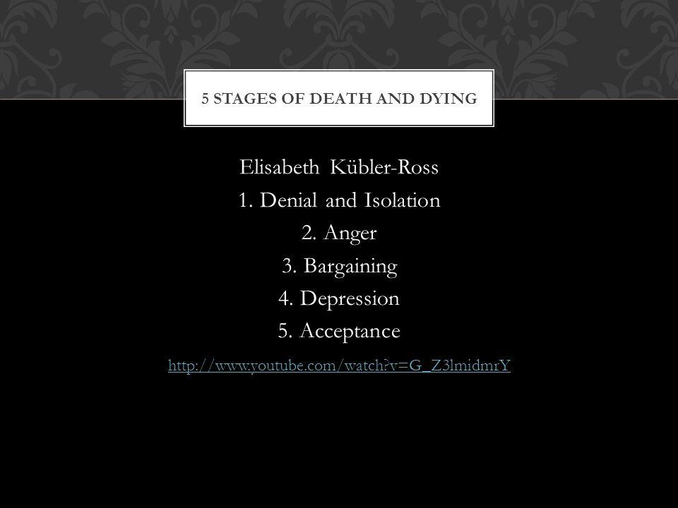 Elisabeth Kübler-Ross 1. Denial and Isolation 2. Anger 3.