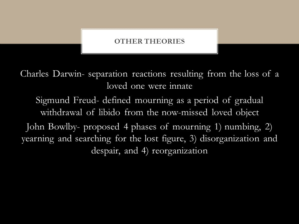 Charles Darwin- separation reactions resulting from the loss of a loved one were innate Sigmund Freud- defined mourning as a period of gradual withdrawal of libido from the now-missed loved object John Bowlby- proposed 4 phases of mourning 1) numbing, 2) yearning and searching for the lost figure, 3) disorganization and despair, and 4) reorganization OTHER THEORIES