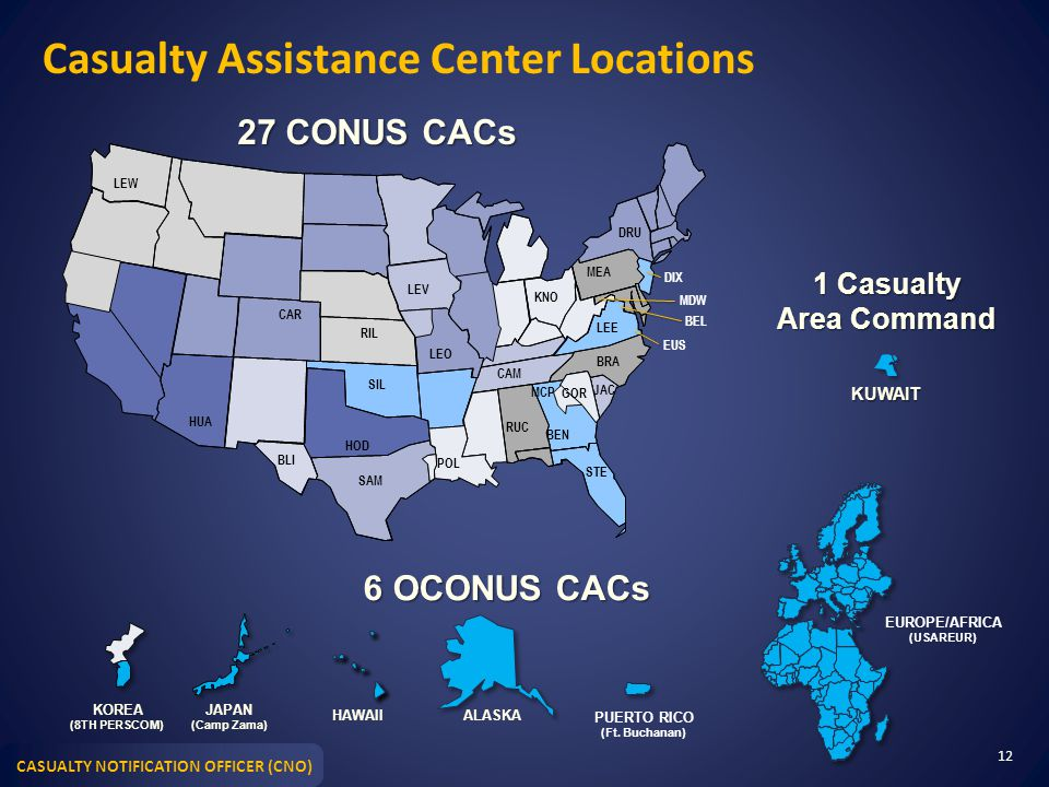 CASUALTY NOTIFICATION OFFICER (CNO) Casualty Assistance Center Locations 12 27 CONUS CACs DIX MCP CAR HUA BLI HOD SAM SIL RIL LEV LEO POL RUC CAM KNO
