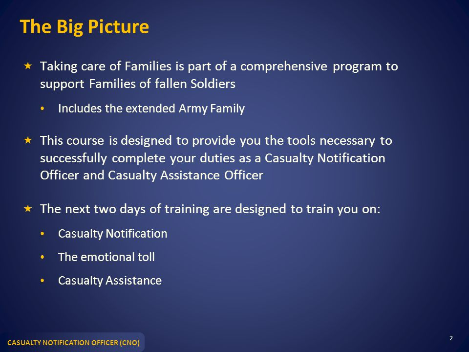 CASUALTY NOTIFICATION OFFICER (CNO) The Big Picture  Taking care of Families is part of a comprehensive program to support Families of fallen Soldier