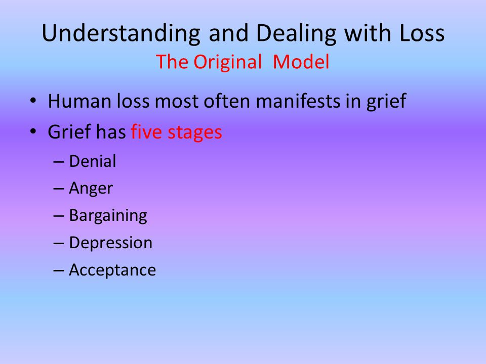 Denial At this stage, the bereaved rejects the reality of the loss.