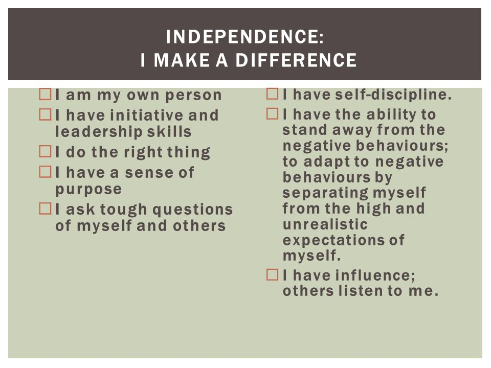 INDEPENDENCE: I MAKE A DIFFERENCE  I am my own person  I have initiative and leadership skills  I do the right thing  I have a sense of purpose 