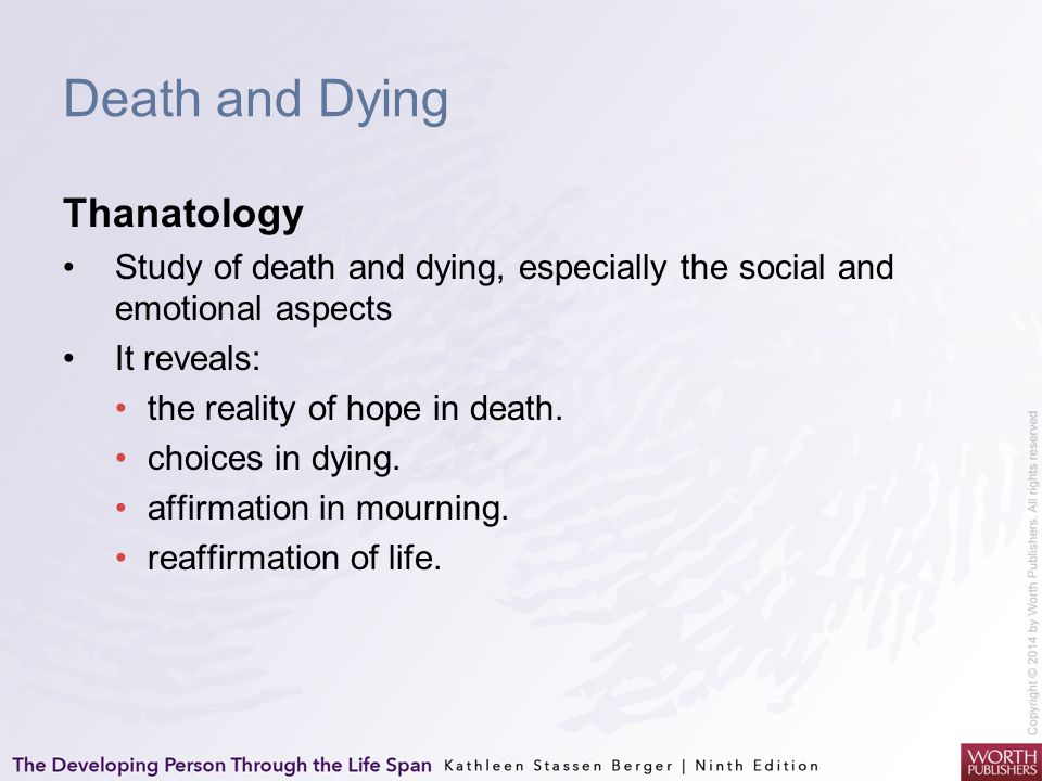 Cultures, Epochs, and Death Near-death experience Episode in which a person comes close to dying but survives and reports having left his or her body and having moved toward a bright white light while feeling peacefulness and joy.