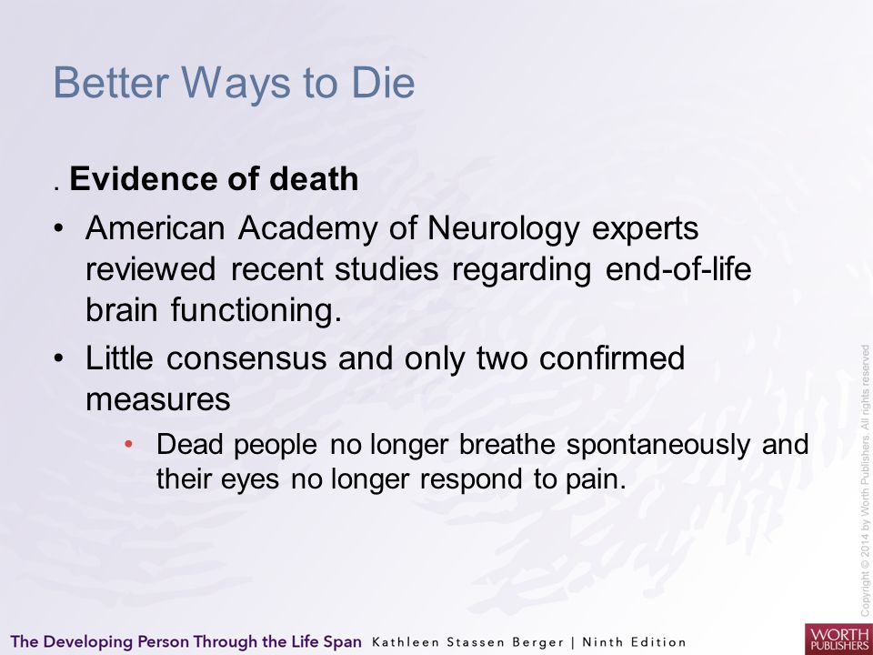 Better Ways to Die. Evidence of death American Academy of Neurology experts reviewed recent studies regarding end-of-life brain functioning. Little co
