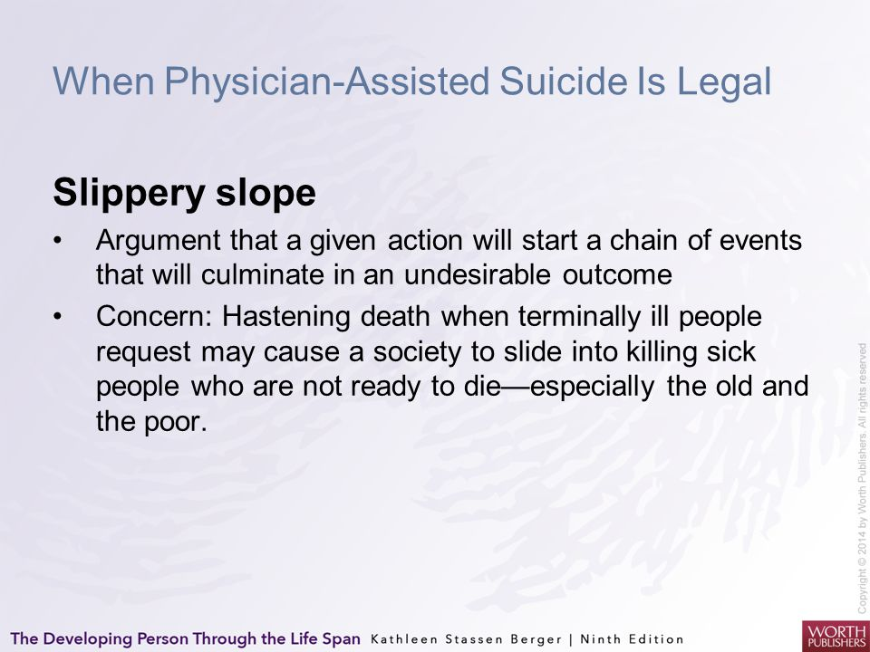 When Physician-Assisted Suicide Is Legal Slippery slope Argument that a given action will start a chain of events that will culminate in an undesirabl