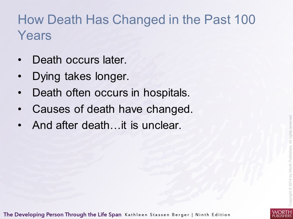 How Death Has Changed in the Past 100 Years Death occurs later. Dying takes longer. Death often occurs in hospitals. Causes of death have changed. And