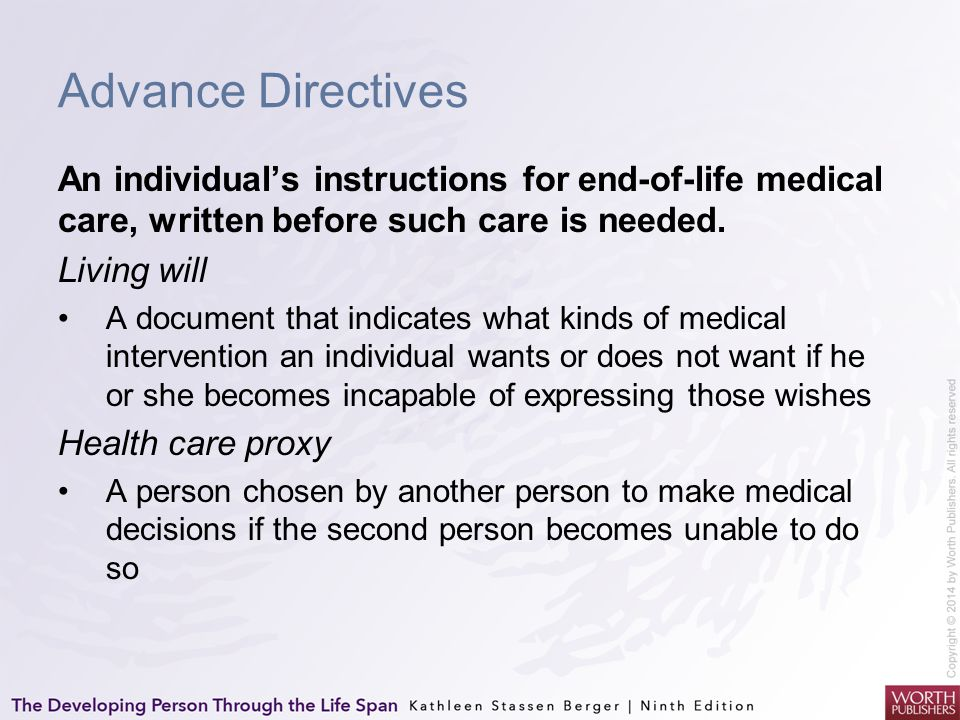 Advance Directives An individual's instructions for end-of-life medical care, written before such care is needed. Living will A document that indicate