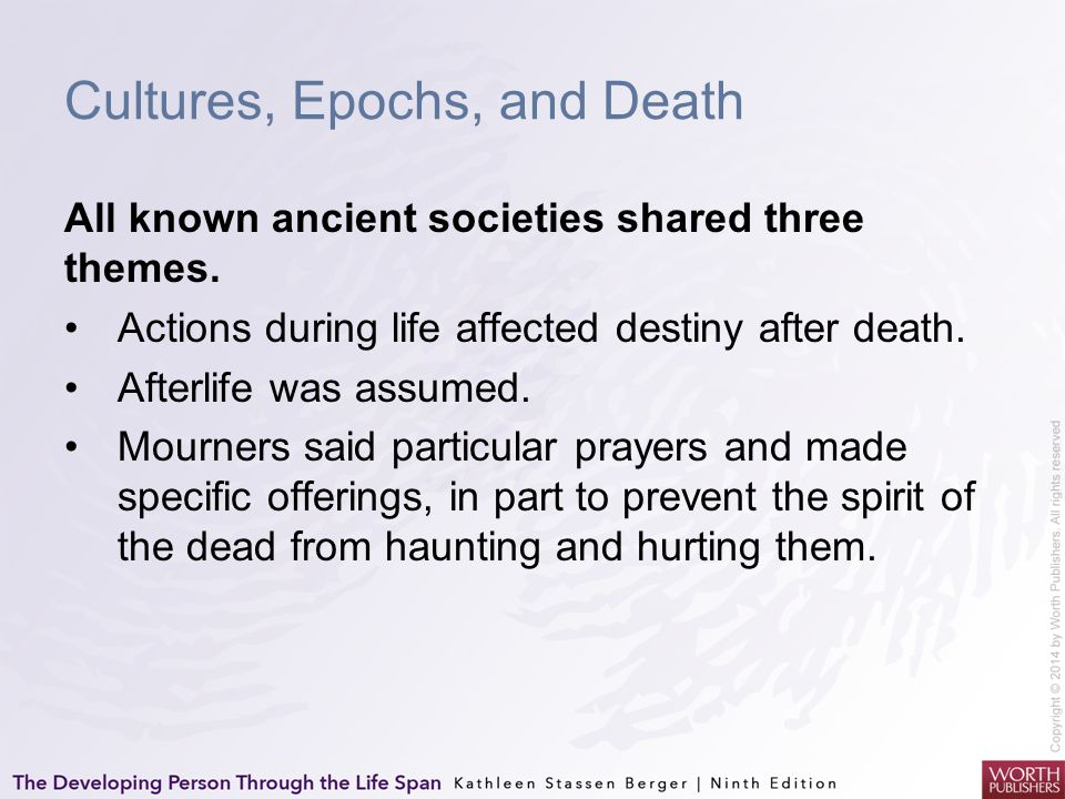 Cultures, Epochs, and Death All known ancient societies shared three themes. Actions during life affected destiny after death. Afterlife was assumed.