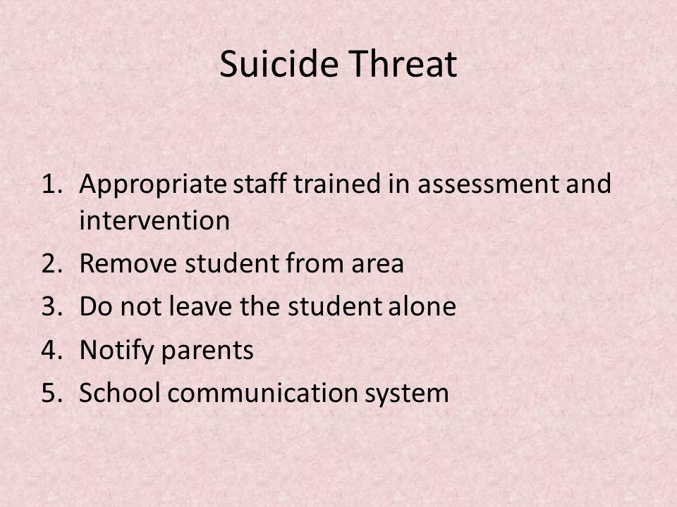 Procedure Areas Suspected suicide ideation Suicide threat Suicide attempt Suicide completion