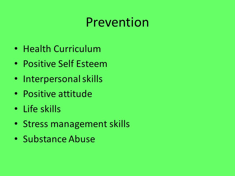 Prevention Continued Leadership team Crisis intervention techniques Developing written policy and procedures