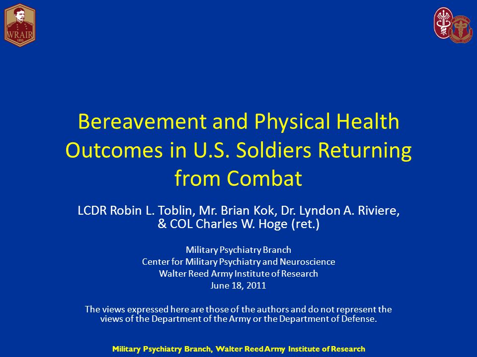 Military Psychiatry Branch, Walter Reed Army Institute of Research Difficulty with PT by Bereavement Severity