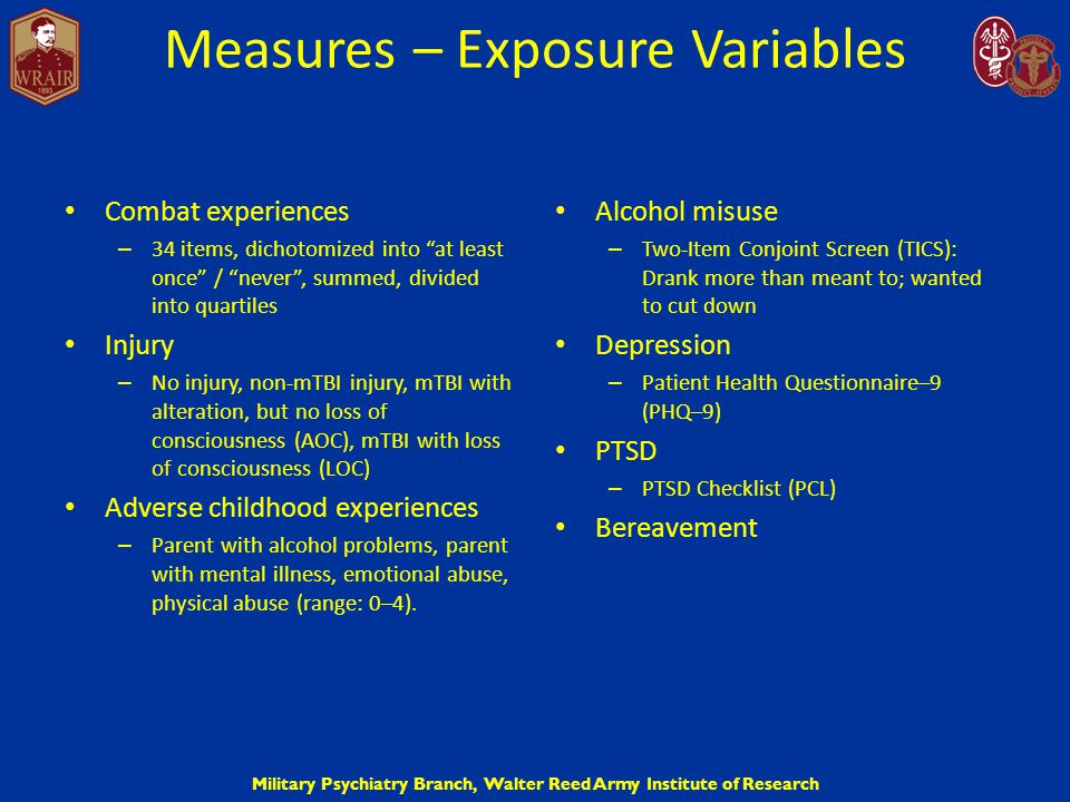"Military Psychiatry Branch, Walter Reed Army Institute of Research Measures – Exposure Variables Combat experiences – 34 items, dichotomized into ""at"