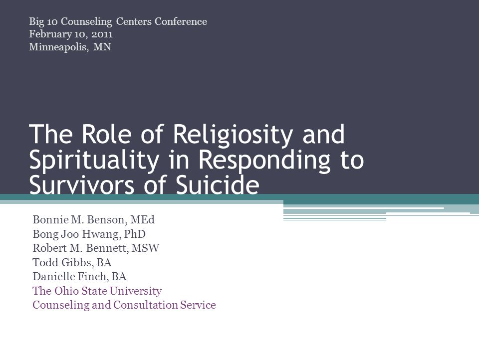 Religious and Spiritual Perspectives on Suicide: Hinduism Precepts prohibit violence and murder Suicide for selfish reasons ▫ Bad death ▫Results in karmic debt that negatively affects rebirth (Lakhan, 2008)