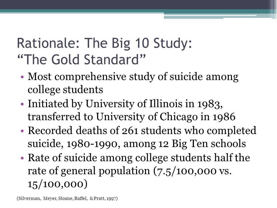Rationale: Statistics for OSU 2009 ACHA survey of 10,000 randomly selected OSU students; 21.2% response rate ▫19.6% diagnosed with depression ▫4.6% intentionally injured themselves ▫ 6.8% seriously considered suicide ▫1.5% attempted suicide (American College Health Association, 2009)