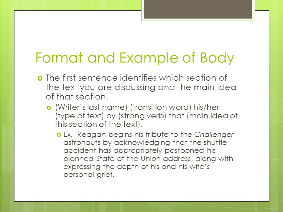 Format and Example of Body  The first sentence identifies which section of the text you are discussing and the main idea of that section.  (Writer's