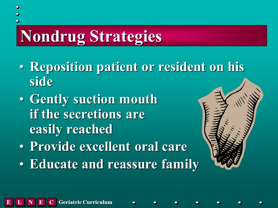 EELLNNEECC Geriatric Curriculum Nondrug Strategies Reposition patient or resident on his sideReposition patient or resident on his side Gently suction mouth if the secretions are easily reachedGently suction mouth if the secretions are easily reached Provide excellent oral careProvide excellent oral care Educate and reassure familyEducate and reassure family