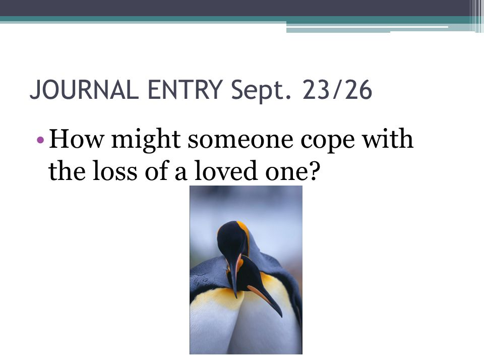 JOURNAL ENTRY Sept. 23/26 How might someone cope with the loss of a loved one