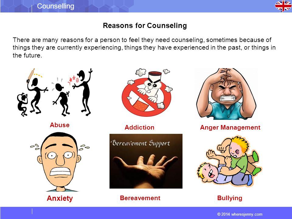 © 2014 wheresjenny.com Counselling Reasons for Counseling There are many reasons for a person to feel they need counseling, sometimes because of things they are currently experiencing, things they have experienced in the past, or things in the future.