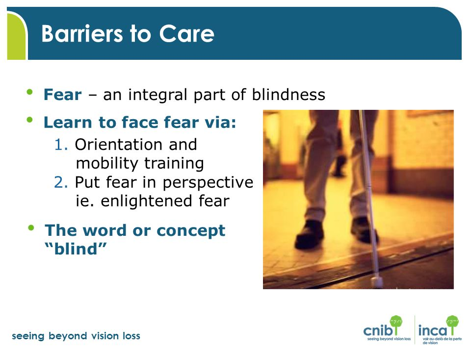 seeing beyond vision loss Learn to face fear via: 1. Orientation and mobility training 2. Put fear in perspective ie. enlightened fear Barriers to Car