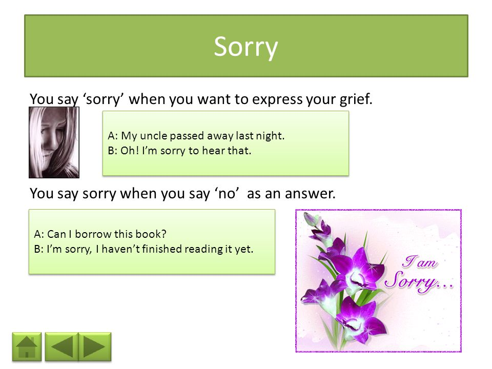 Sorry You say 'sorry' when you want to express your grief.