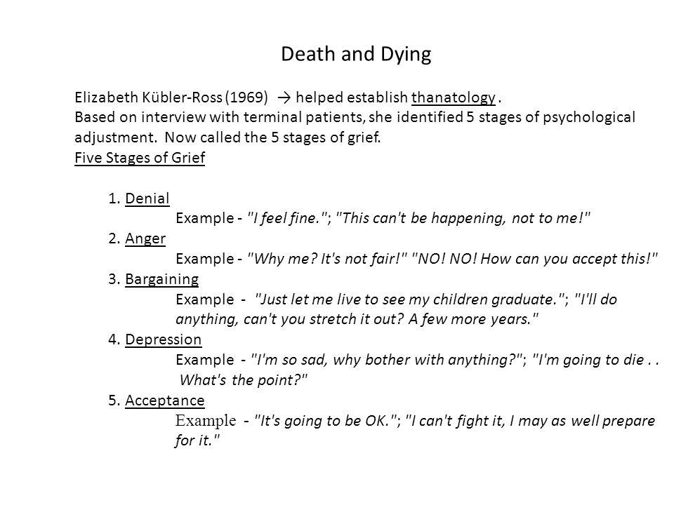 Death and Dying Elizabeth Kübler-Ross (1969) → helped establish thanatology.