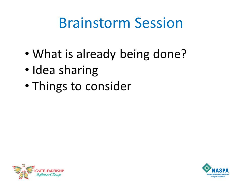 Brainstorm Session What is already being done Idea sharing Things to consider