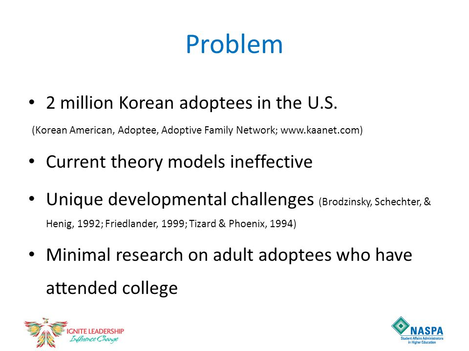 Problem 2 million Korean adoptees in the U.S. (Korean American, Adoptee, Adoptive Family Network; www.kaanet.com) Current theory models ineffective Un