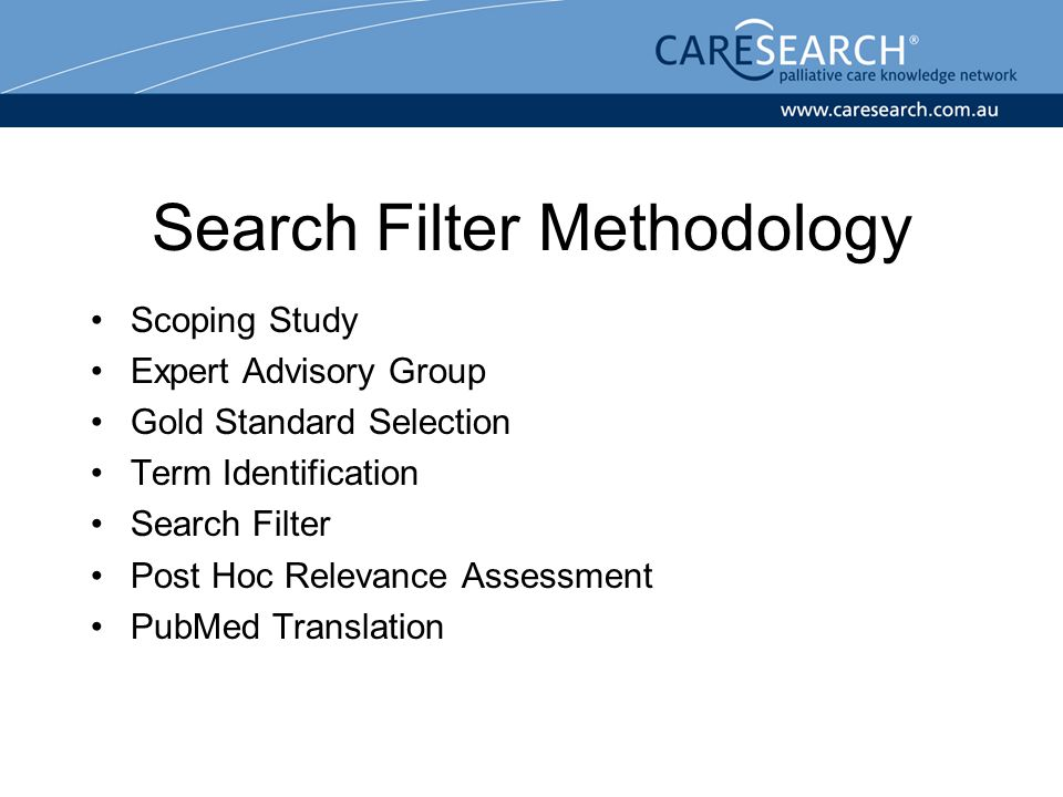 Search Filter Methodology Scoping Study Expert Advisory Group Gold Standard Selection Term Identification Search Filter Post Hoc Relevance Assessment PubMed Translation