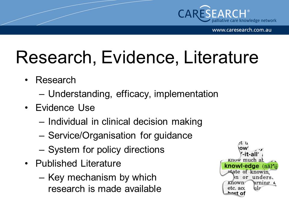 Research, Evidence, Literature Research –Understanding, efficacy, implementation Evidence Use –Individual in clinical decision making –Service/Organisation for guidance –System for policy directions Published Literature –Key mechanism by which research is made available
